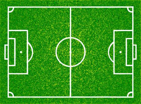 リアルな質感の草サッカー、サッカー場。分離したベクトル図