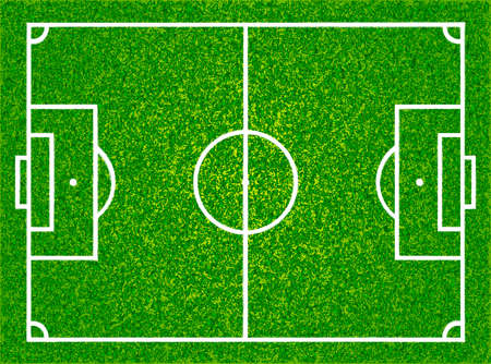 Realistic textured grass football, soccer field. Vector isolated illustration Illustration