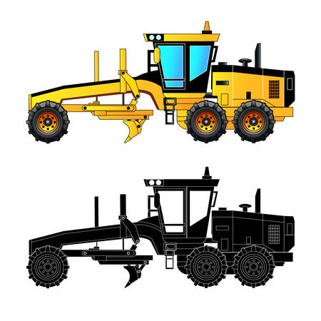 Grader. Heavy equipment and machinery detailed vector illustration. Isolated on white. Icon. Flat style. Silhouette Illustration