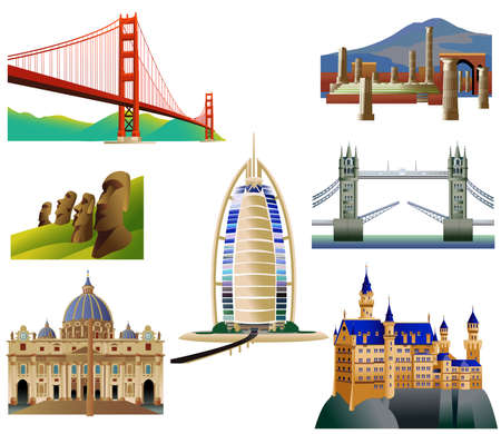 World Landmarks, set 3. Vector icons. Isolated on white. San Francisco Golden Gate bridge. St.Peter's Basilica. Tower bridge. Vesuvius and Pompeii. Hotel in Dubai. Neuschwanstein Castle. Easter island Vettoriali
