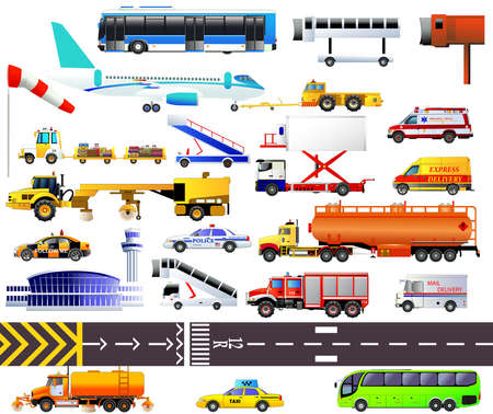 Airport equipment set. Vector icons, isolated. Business jet, passenger bus, tow tractor, windsock, baggage carts, taxi, snow plough, catering vehicle, tanker, fire engine and ambulance and others Vectores