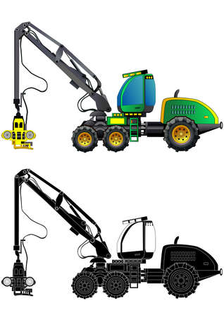 Forestry production machine. Forestry harvester, heavy hydraulic equipment for wood cutting. Detailed vector illustration. Isolated on white. Icon. Flat style. Silhouette