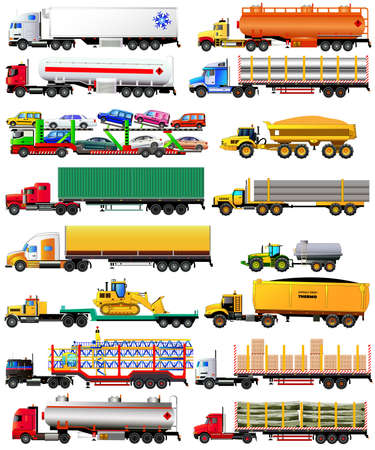 semitrailer: Vector set of semi-trailer trucks. Detailed, side view, icons. Isolated on white. Flat style