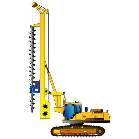 borehole: Machine for drilling holes for foundations. Vector illustration. Isolated on white. Icon. Flat style