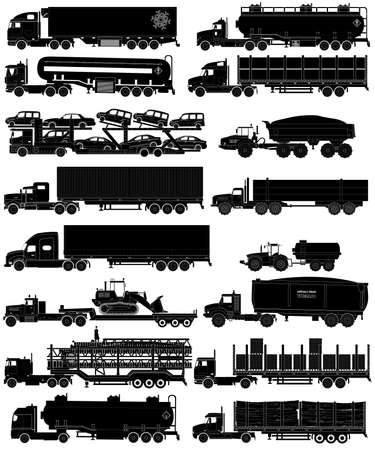 Trucks with trailers silhouettes set. Semi-trailers trucks. Isolated on white. Flat style icons Illustration