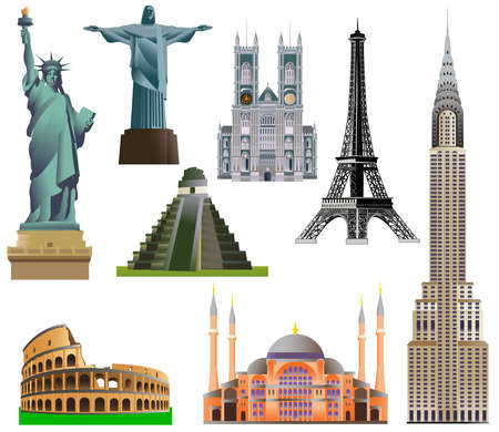 aya: World architecture, monument or landmark icon set. Vector isolated on white illustration. The Colosseum, Statue of Liberty, The Eiffel Tower, Aya Sofia Mosque, Westminster Abbey, Maya pyramid.