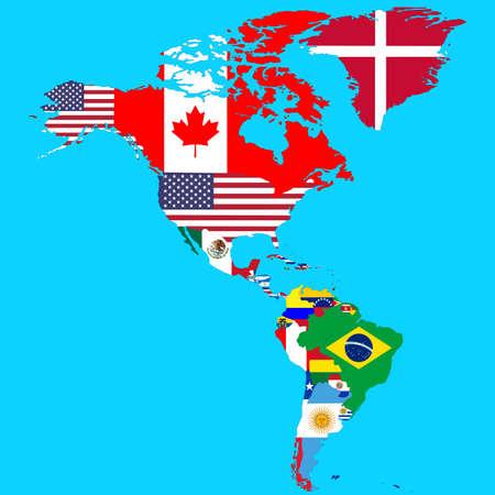 Mappa politica del Nord e del Sud America, con le bandiere dei paesi. Illustrazione vettoriale Isolato su blu Vettoriali
