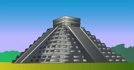 Mayan pyramid of Kukulcan, Chichen-Itza, Mexico. Vector color illustration Illustration