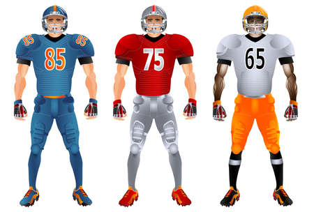 American football players. Uniform. Set. Vector illustration. Isolated on the white background