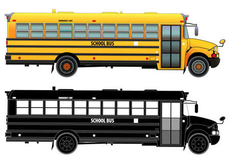 School bus, detailed vector illustration. Isolated on white. Icon. Flat style. Silhouette Vectores