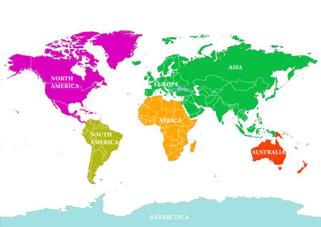 Seven Continents World Map Asia Africa North And South America