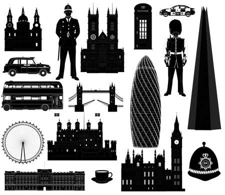 Vector Great Britain and London, landmarks and English traditions, symbols icons collection. Isolated on white, abstract illustration. Set Vectores