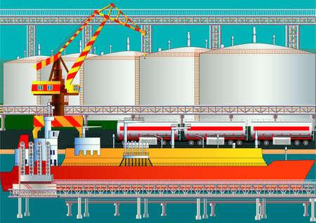 Fuel gas tanker, LNG transporter, gas terminal and tanks. Vector illustration. Flat style. Silhouette. Icon. All objects are located on isolated layers