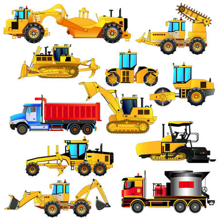 road grader: Road construction equipment set. Detailed vector icons, isolated on white. Digger, road rollers, loaders, bulldozer, tractor, scraper, grader, asphalt paver, mixer.