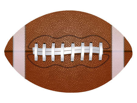 American college high school junior striped football ball on a white background. Realistic vector isolated illustration