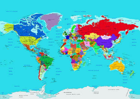 World map, political, in high details. Vector illustration. All elements are separated in editable layers clearly labeled.