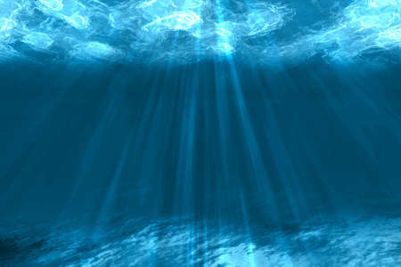Underwater background with sea bottom and sun rays. Color vector illustration. EPS10 Vectores