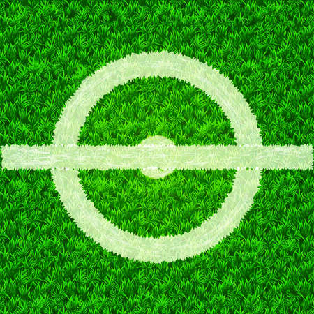 Soccer field center. White circle on the green grass. Vector realistic illustration