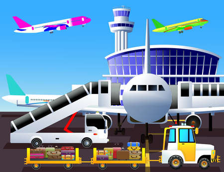 Airport theme. Airplane, mobile passenger steps, tow tractor and baggage carts. Vector color illustration