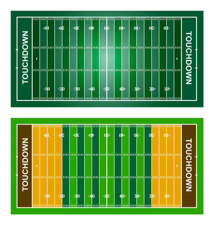 American football fields. Set. Vector isolated on white background illustration Vectores