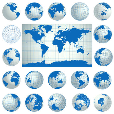 World map and set of blue globe icons. Planet Earth. Detailed vector illustration. Isolated on white background