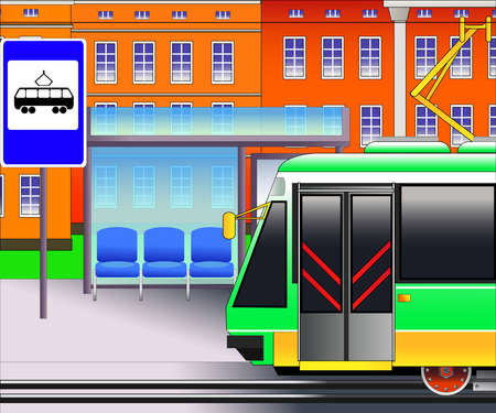 Tram station and tramway stop sign. Vector illustration. Flat style Illustration