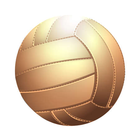 Brown volleyball ball isolated on a white background as a sports and fitness symbol. Vector illustration Vectores