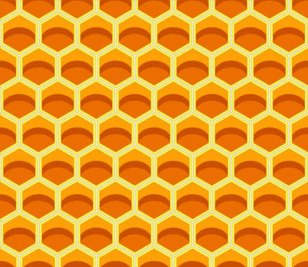 Background seamless texture of section of wax honeycomb. Pattern. Color vector illustration. Seamless. EPS10