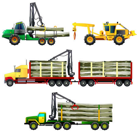 Timber wood trucks, forwarder and skidder forestry vehicles, side-view, flat style. Vector illustration. Isolated on white Illustration