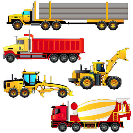 Set of heavy construction machines icons. Trucks and loaders, vector illustration. Flat style. Isolated on white