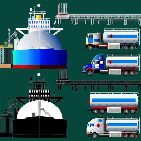 LNG terminal, tankers and trucks. Vector illustration. Flat style. Icon. Isolated on green. Set. Illustration