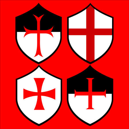 Shields of the templar knights. Vectores