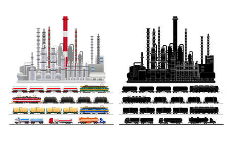 Oil industry refinery factory, petroleum, petrochemical plant building facade and railway tank-trucks with oil, gasoline and gas in flat style. City landscape. Silhouette. Vector isolated on white background illustration eps10