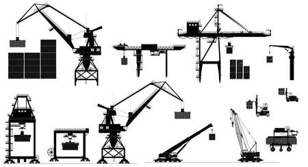 Various types of harbor cargo cranes. Set. Shipping port equipment. Containers. Vector illustrated on white background illustration. Black and white silhouette. Eps10 Vectores