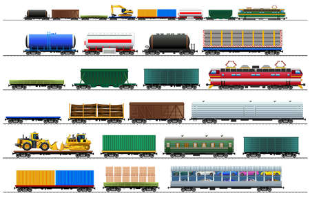 Cargo train cars. Railway carriage set. Color vector isolated on white background illustration Eps10. Silhouette Vettoriali
