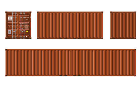 Brown shipping cargo container twenty and forty feet for logistics and transportation.