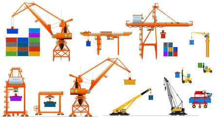 Różne typy dźwigów portowych. Zestaw. Wyposażenie portu morskiego.