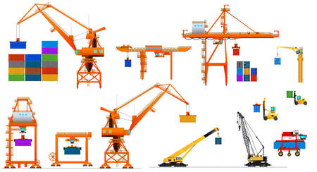 Various types of harbor cargo cranes. Set. Shipping port equipment.