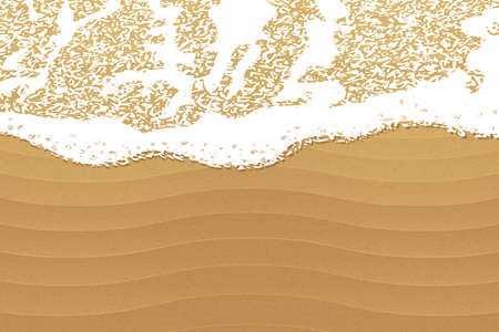 Soft wave of the sea on the sandy beach. Color vector illustration. Vectores