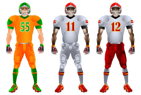 American football players. Uniform. Set. Vector illustration. Iisolated on the white background Vectores
