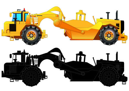 Tractor-scraper. Heavy equipment vehicle, vector illustration. Isolated on white. Icon. Flat style. Silhouette
