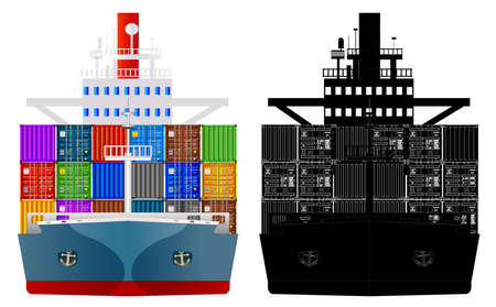 Container ship front view with multicolor cargo containers. Black and white silhouette. Vector isolated on white background illustration