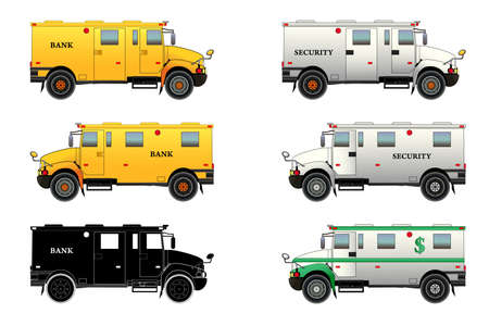 Bank armored car and truck. Bulletproof van. Silhouette. Vector isolated on white background illustration