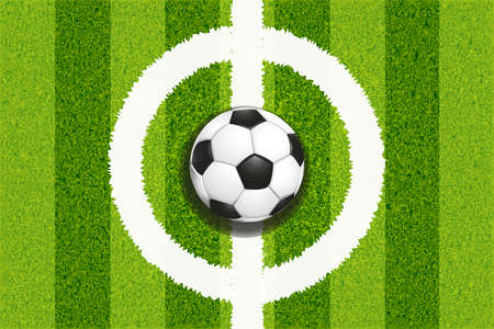 Soccer field white center and leather football ball top view background. Color vector illustration