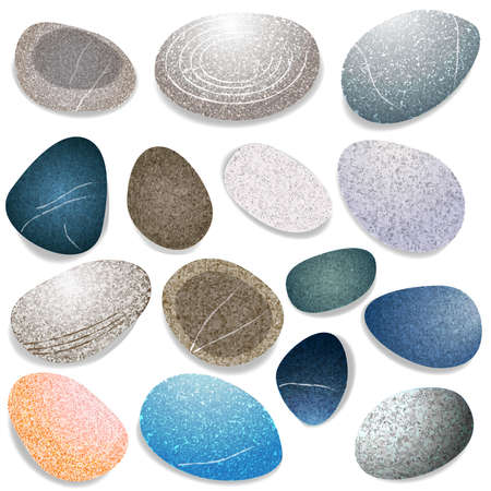 Set of natural sea stones on white background. Different shapes and colors sea rock pebbles. Realistic vector illustration.