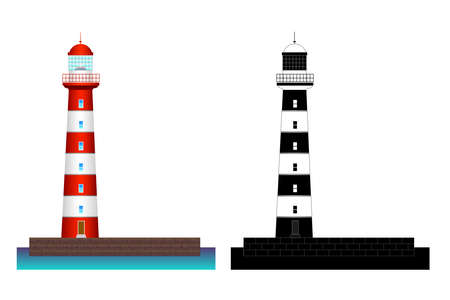 Red, black, white lighthouse on water. Flat building architecture icon. Vector illustrated on white background illustration. Black and white silhouette