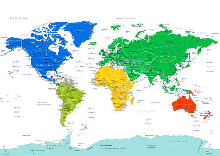 World map, highly detailed vector illustration. Continents in different colors. Countries, cities, water objects. The names of countries and cities are located on separate layers. Isolated on a white