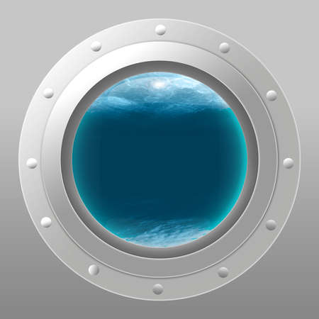 Metal submarine side with porthole and underwater background. Vector illustration EPS10 Vectores