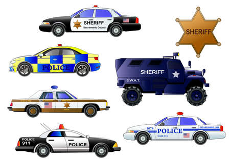 Police cars, vector set. Armored police truck, sheriff badge on white background. Icon. Flat style illustration.