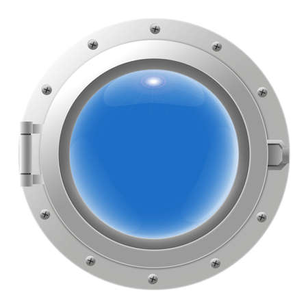 Metal ship porthole with glass isolated on transparent background. Rivets mount. Vector illustration
